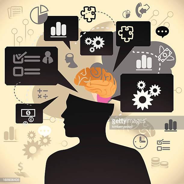 businessman brain - cerebral hemisphere stock illustrations, clip art, cartoons, & icons