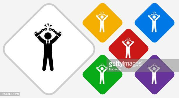 businessman breaking shackles color diamond vector icon - freedom stock illustrations, clip art, cartoons, & icons