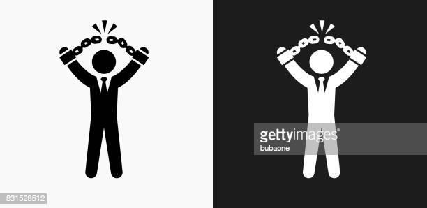 ilustraciones, imágenes clip art, dibujos animados e iconos de stock de hombre de negocios romper grilletes icono en blanco y negro vector fondos - bola de hierro y cadena