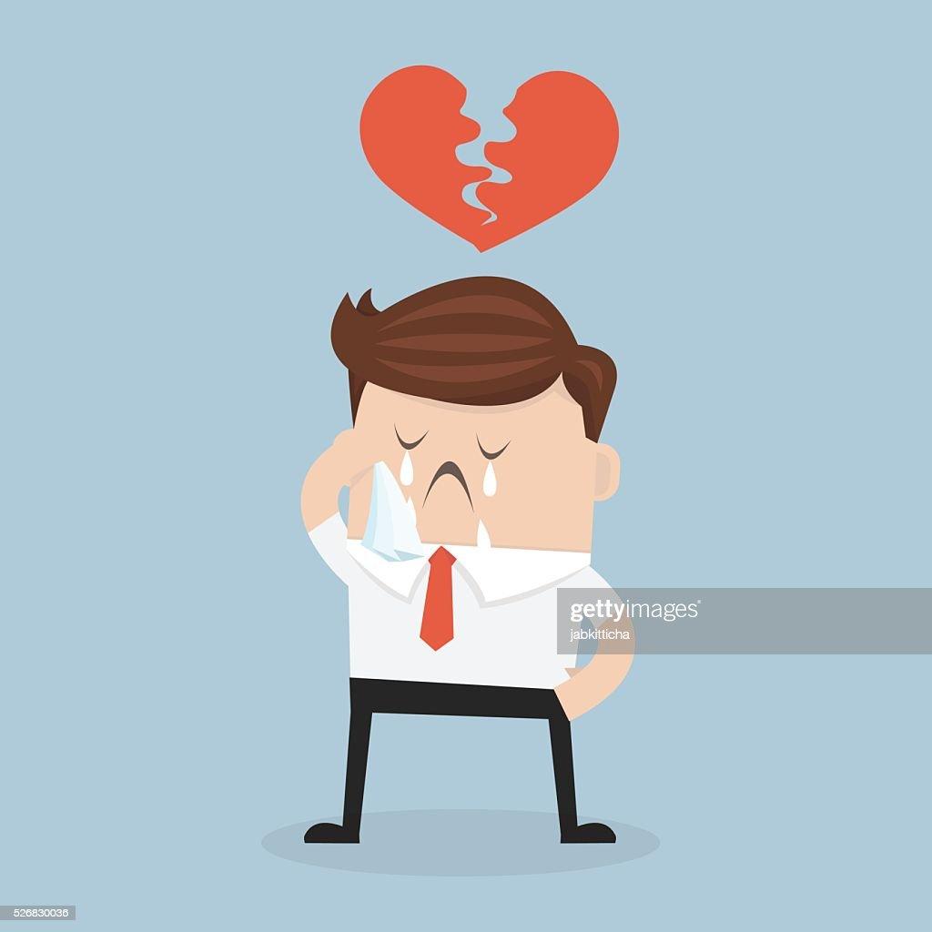 Businessman broken heart, heartbreak