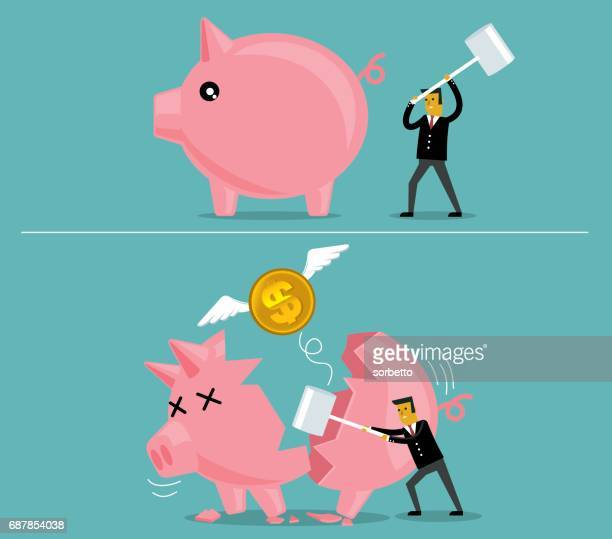 businessman broken piggy bank - deterioration stock illustrations, clip art, cartoons, & icons