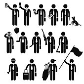 Businessman Business Man Holding Objects Man Stick Figure Pictogram Icon