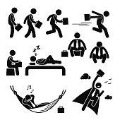 Businessman Business Man Walking Running Sleeping Flying Stick Figure Pictogram