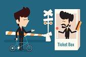 businessman buying ticket