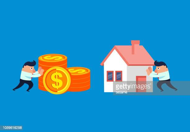 businessman buys house with money - house rental stock illustrations, clip art, cartoons, & icons