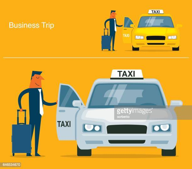 businessman calling for a taxi - taxi stock illustrations, clip art, cartoons, & icons