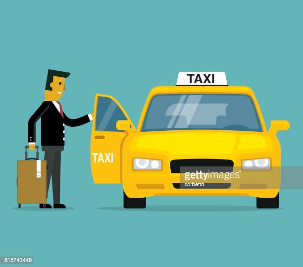 businessman calling for a taxi - yellow taxi stock illustrations, clip art, cartoons, & icons