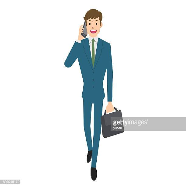 Businessman calling on smartphone
