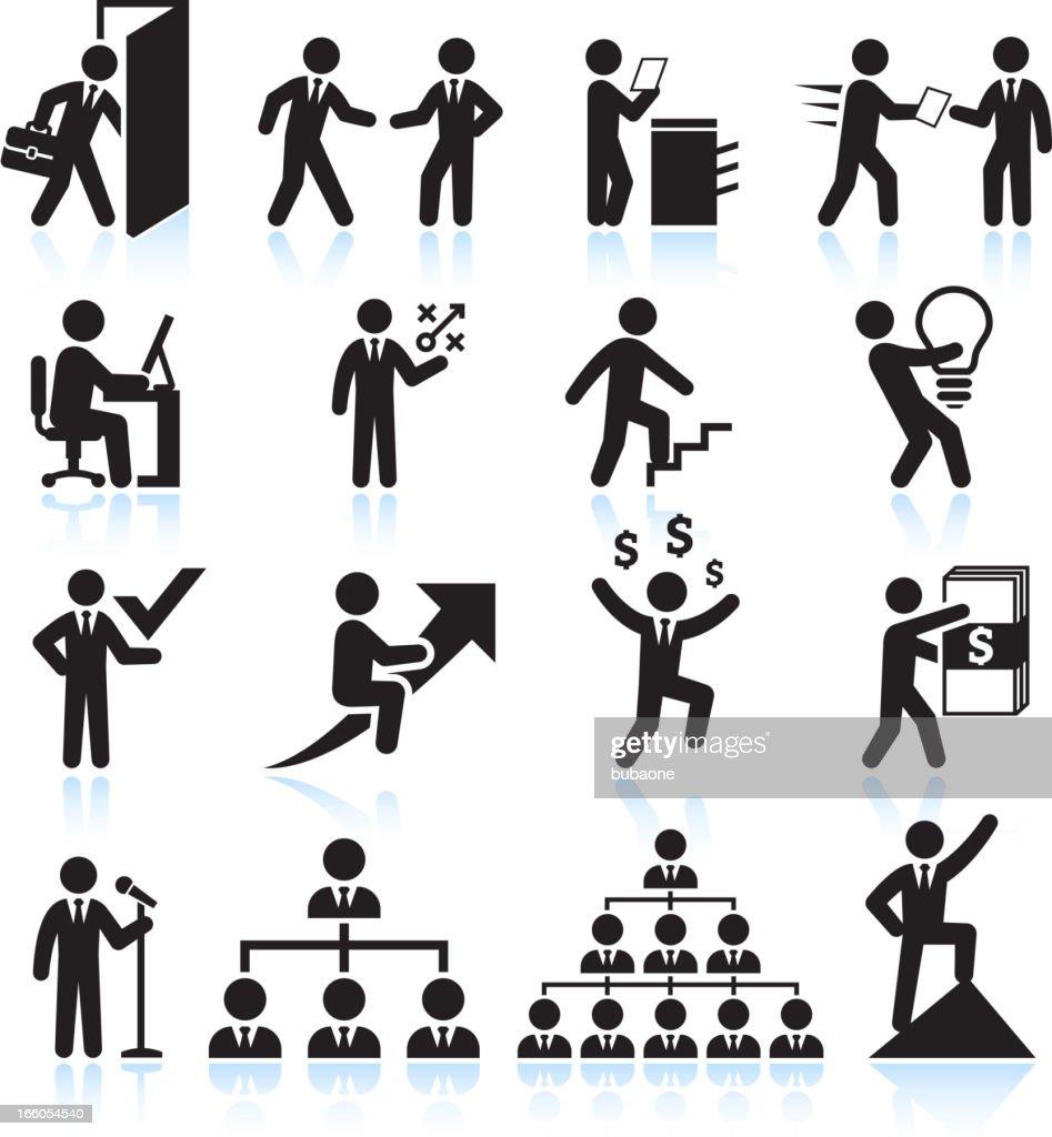 Businessman Career Path to Success black & white icon set