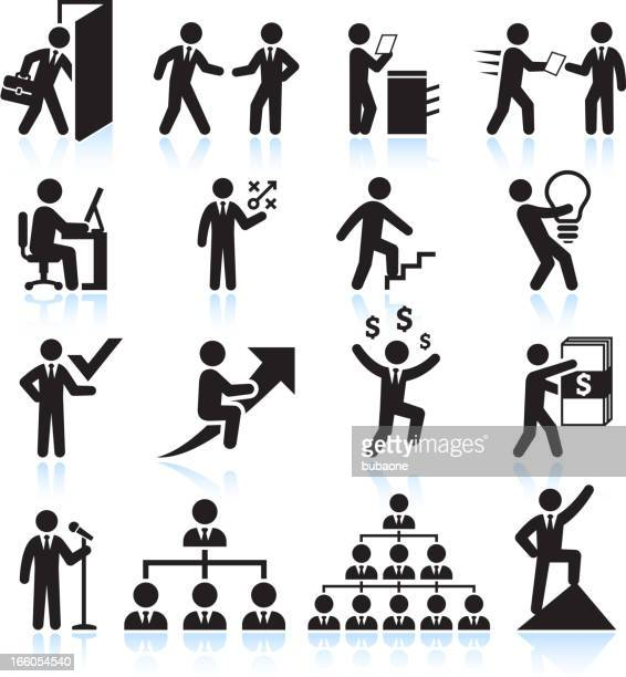 Businessman Career Path to Success black & white icon set