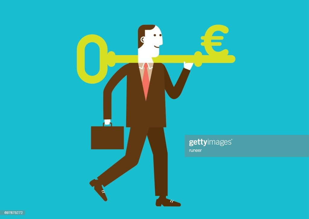 Businessman Carries a Key to Wealth (EURO) | New Business Concept : stock illustration