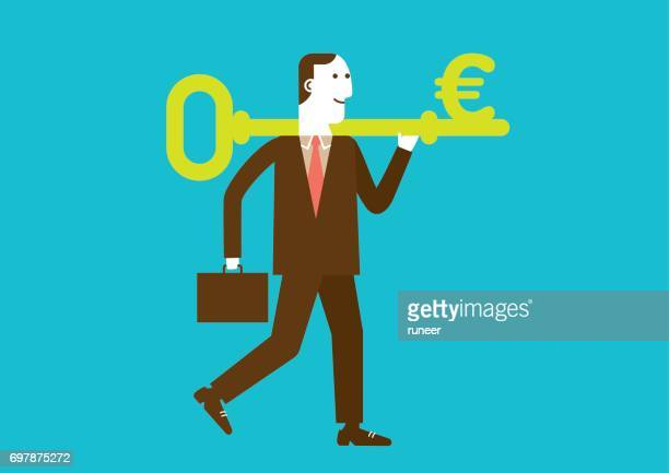 Businessman Carries a Key to Wealth (EURO) | New Business Concept