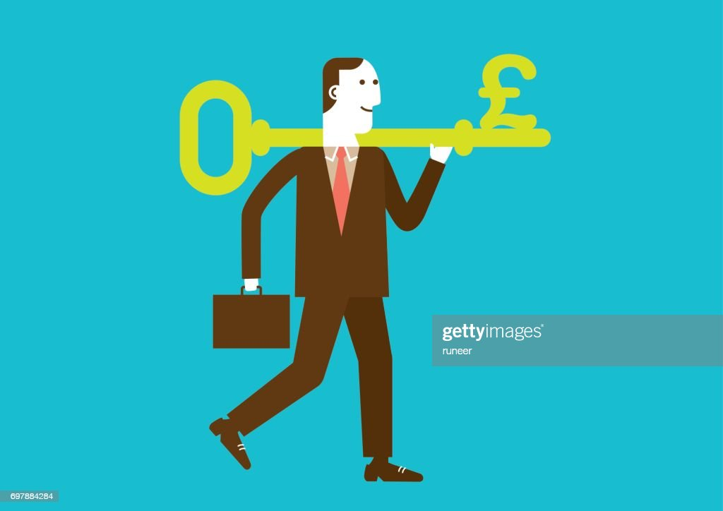 Businessman Carries a Key to Wealth (Pound) | New Business Concept : stock illustration