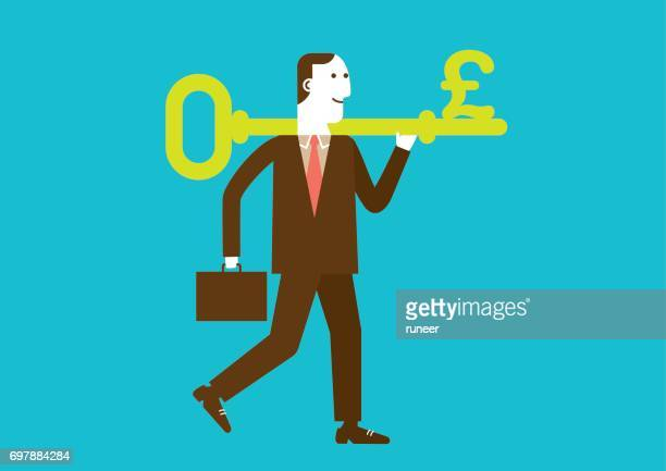 Businessman Carries a Key to Wealth (Pound) | New Business Concept