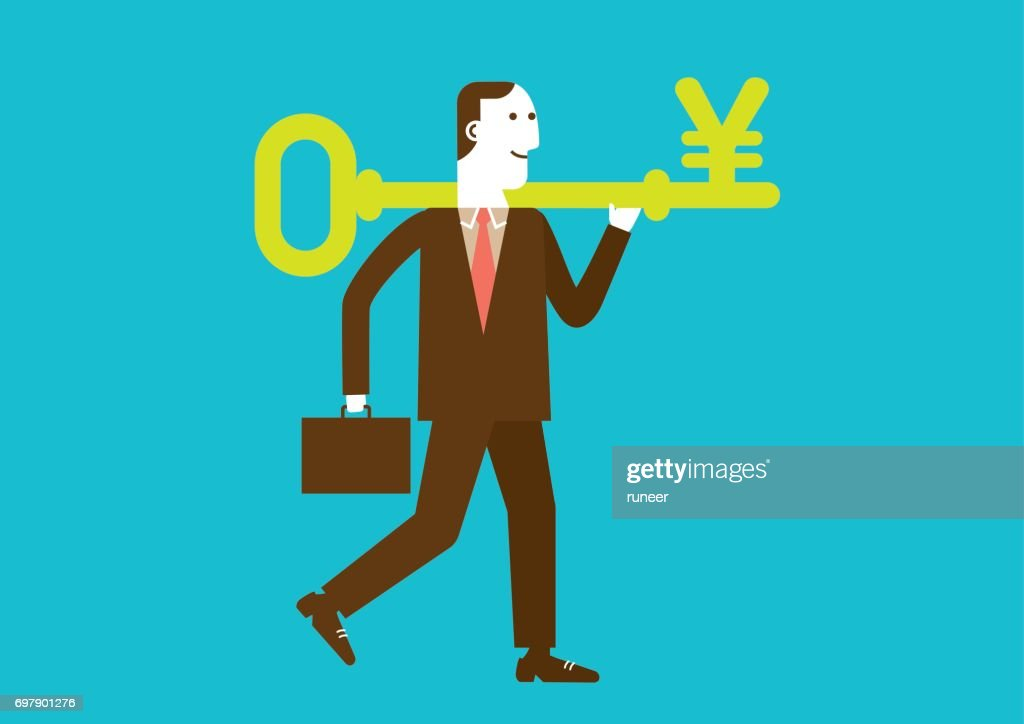 Businessman Carries a Key to Wealth (Yuan/Yen) | New Business Concept : stock illustration