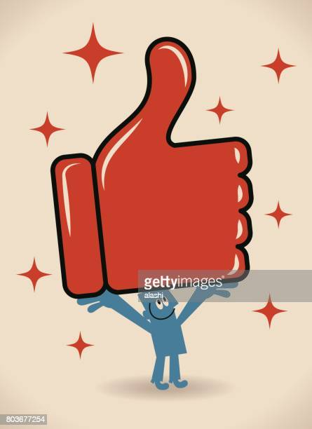 ilustraciones, imágenes clip art, dibujos animados e iconos de stock de empresario llevar (mostrar) un gran pulgar arriba signo - felicitar