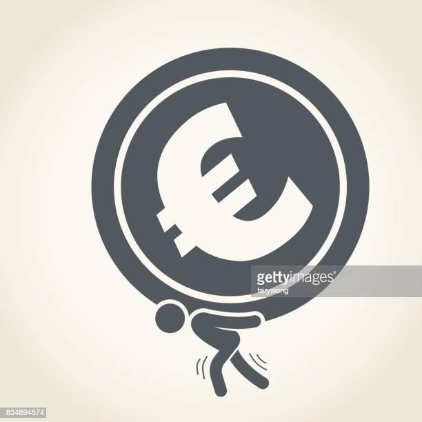 Geschäftsmann, tragen eine riesige Euro-Münze