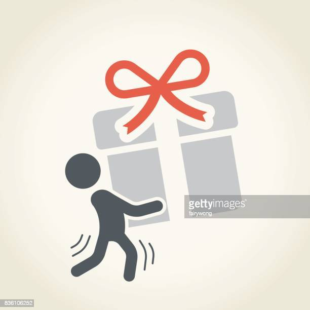 businessman carrying a gift - bending over stock illustrations, clip art, cartoons, & icons
