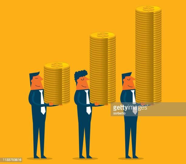 ilustraciones, imágenes clip art, dibujos animados e iconos de stock de empresario que lleva una pila de monedas de oro - charity benefit