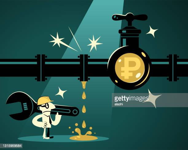 レンチを運び、仕事のヘルメットを身に着けているビジネスマン(配管工)は、ロシアルーブルの通貨記号を持っている漏れたパイプラインを発見し、彼は水(お金)漏れを解決するつもりです - 水の無駄遣い点のイラスト素材/クリップアート素材/マンガ素材/アイコン素材