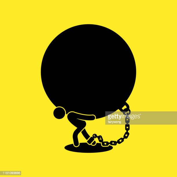 businessman carrying ball and chain,concept business debt vector illustration - over burdened stock illustrations