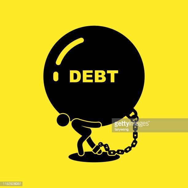 ilustraciones, imágenes clip art, dibujos animados e iconos de stock de hombre de negocios que lleva bola y cadena, concepto de vector de deuda comercial ilustración - bola de hierro y cadena