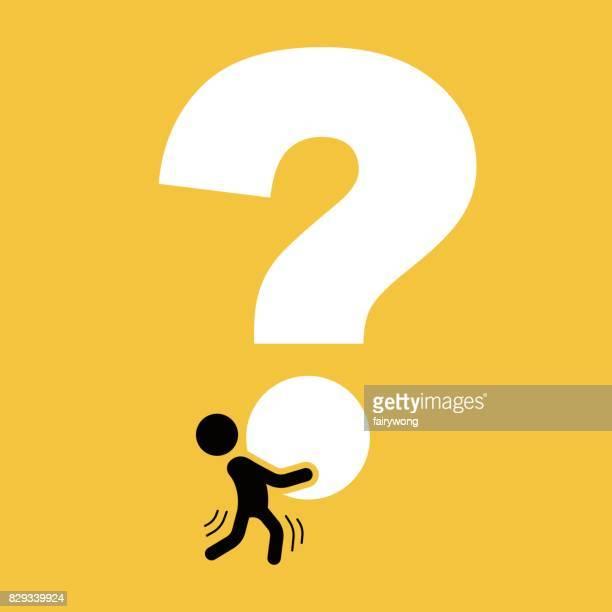 ilustraciones, imágenes clip art, dibujos animados e iconos de stock de empresario con gran signo de interrogación - signos de interrogacion