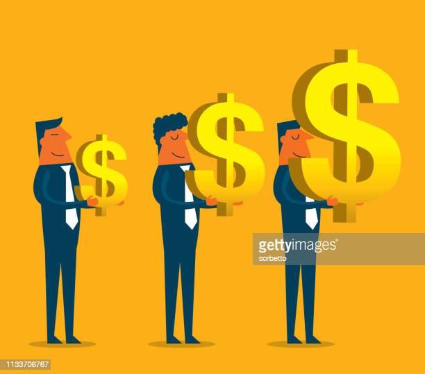 ilustraciones, imágenes clip art, dibujos animados e iconos de stock de empresario que lleva el símbolo del dólar - charity benefit