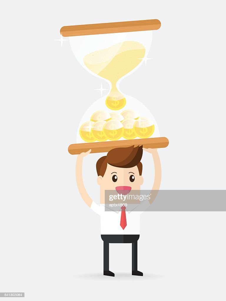 businessman carrying hourglass filled with coin of gold.