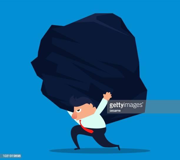 businessman carrying huge stones - over burdened stock illustrations