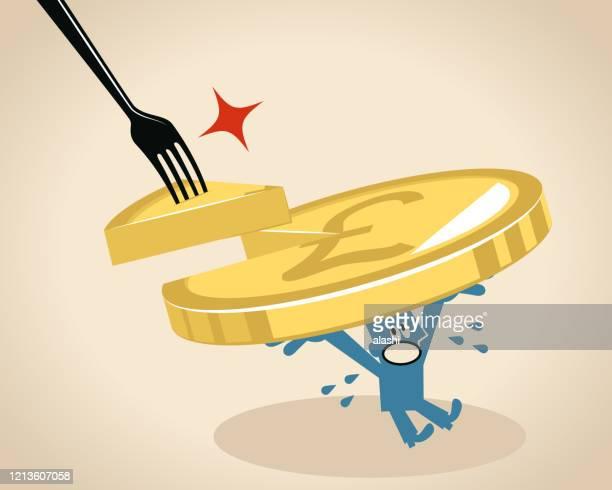ilustraciones, imágenes clip art, dibujos animados e iconos de stock de empresario lleva un signo de libra moneda de moneda de moneda británica (pie, pastel) falta una rebanada que es robada por un tenedor grande - impuestosobrelarenta