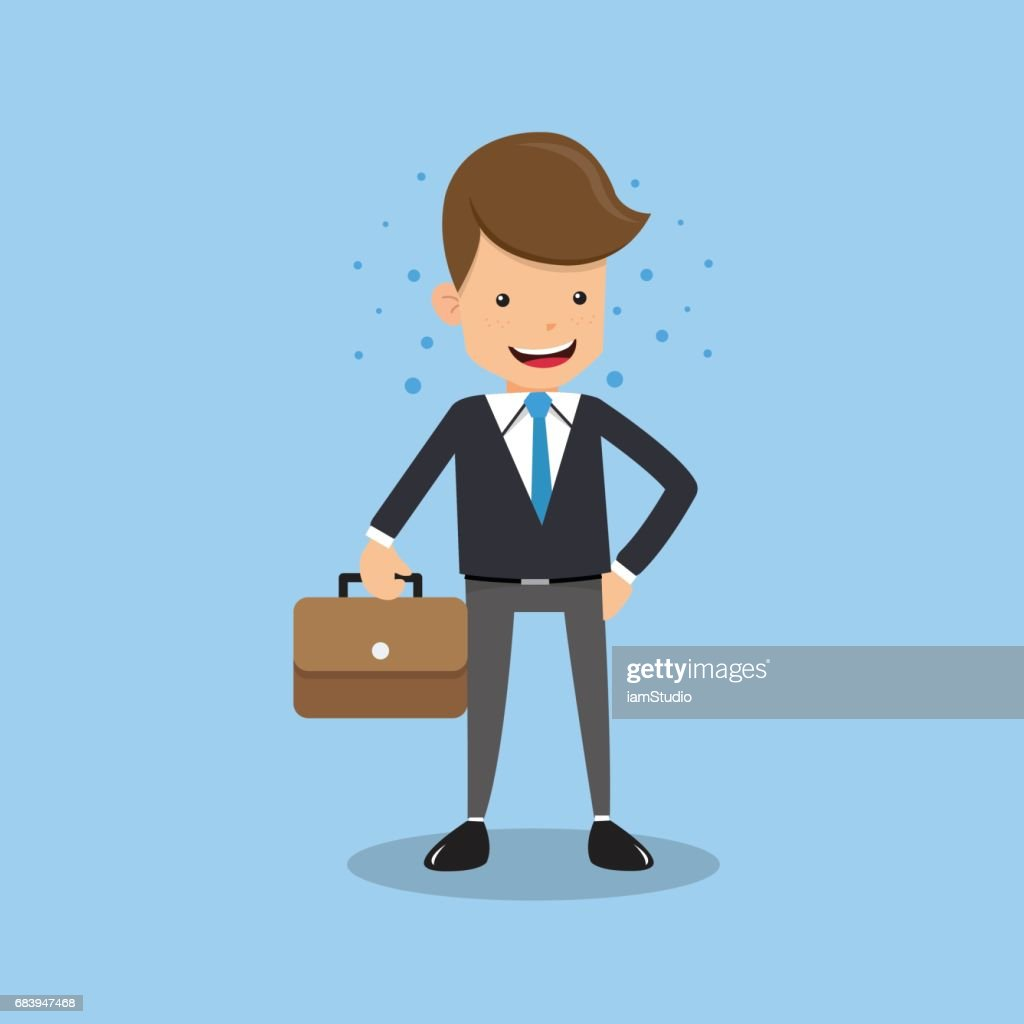 Businessman Cartoon Character Design Concept with Briefcase on Blue Background