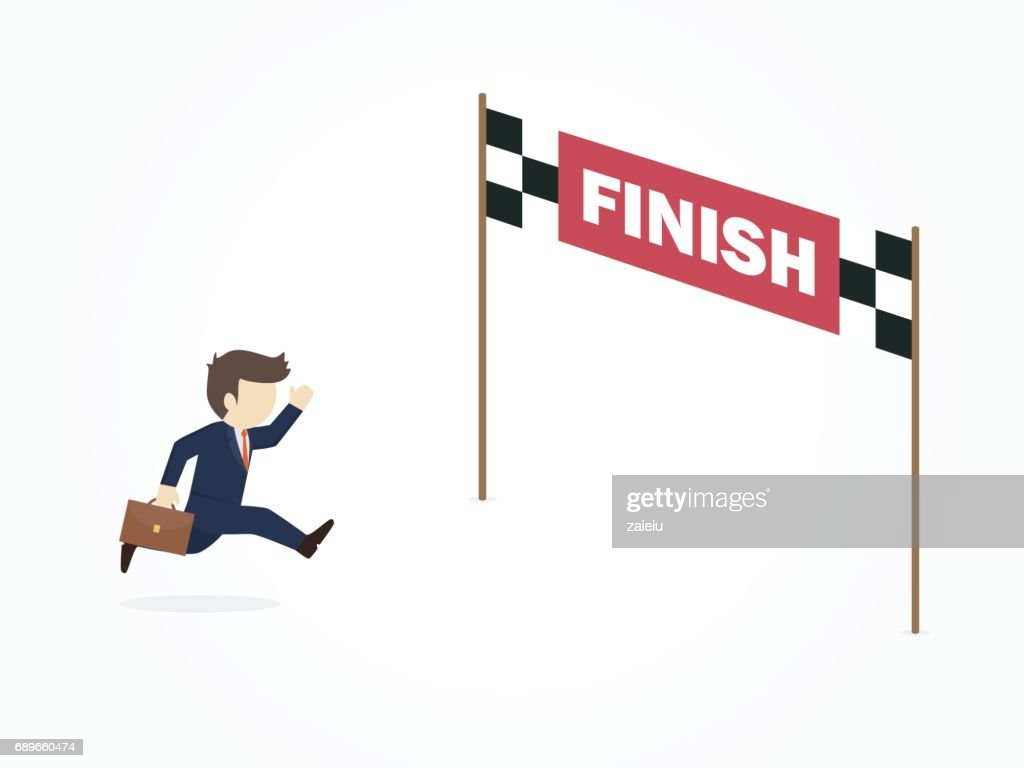 Businessman cartoon running into finish line achieving accomplishment.