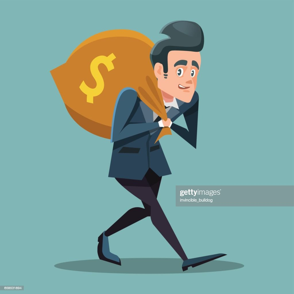 Businessman Cartoon with Money Bag