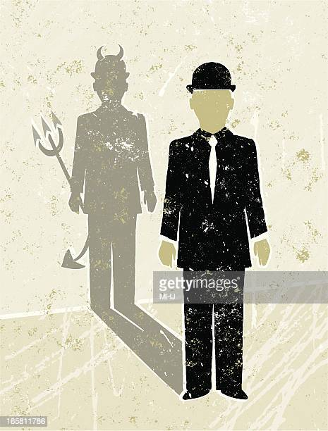 businessman casting a devil shaped shadow - office politics stock illustrations, clip art, cartoons, & icons