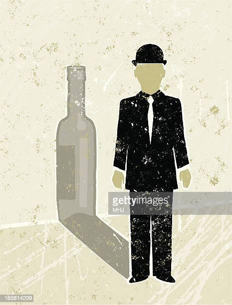 Empresário Fundição de uma garrafa de vinho Sombra
