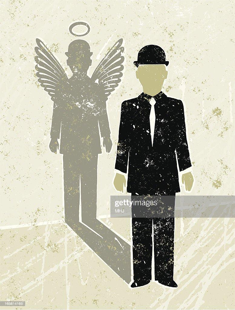 Businessman Casting an Angel Shadow : stock illustration