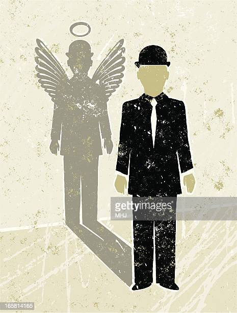 businessman casting an angel shadow - office politics stock illustrations, clip art, cartoons, & icons