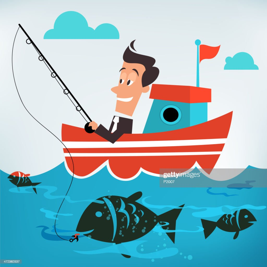 Businessman Catching A Big Fish At Sea Vector Art Getty Images