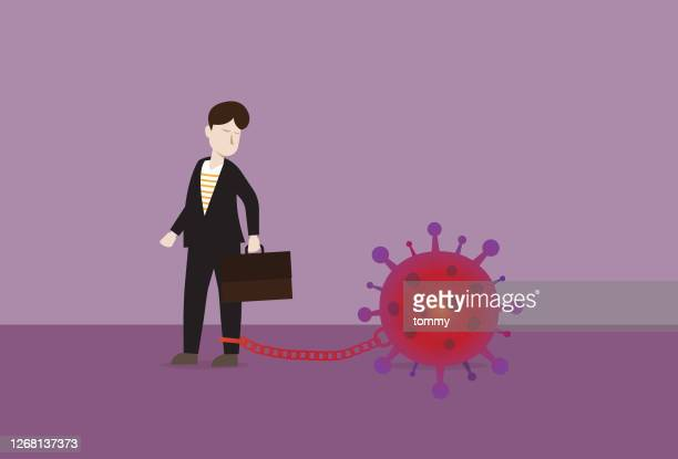 businessman chain with a virus - viral shedding stock illustrations
