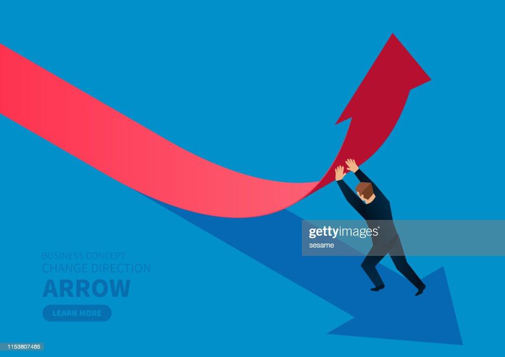 Geschäftsmann wechselt Richtung Pfeil : Stock-Illustration