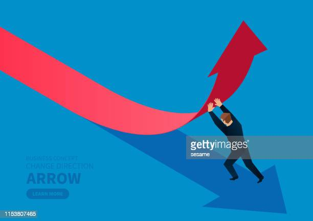 businessman changes the direction of the arrow - change stock illustrations