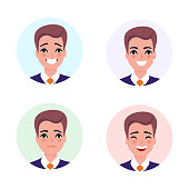 Businessman character avatar set.