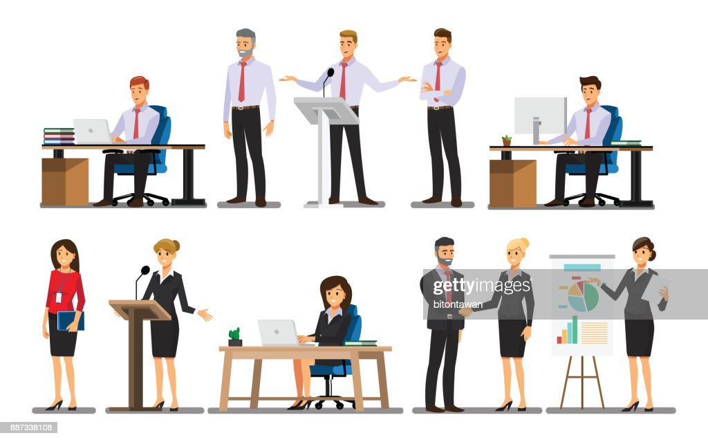 Businessman character In the office set  ,Vector illustration