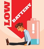 Businessman character no energy battery. Vector flat cartoon illustration