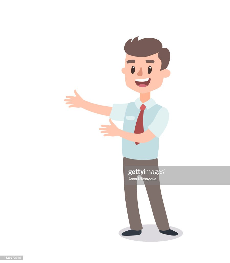 Businessman character set. Animate character. Male personage constructor. Different man postures. Vector set personage.