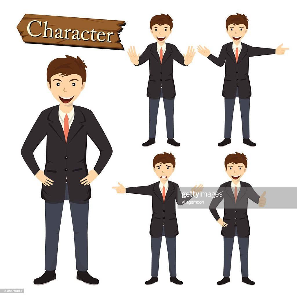 Businessman character set vector