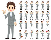 Businessman charactor set. Various poses and emotions.
