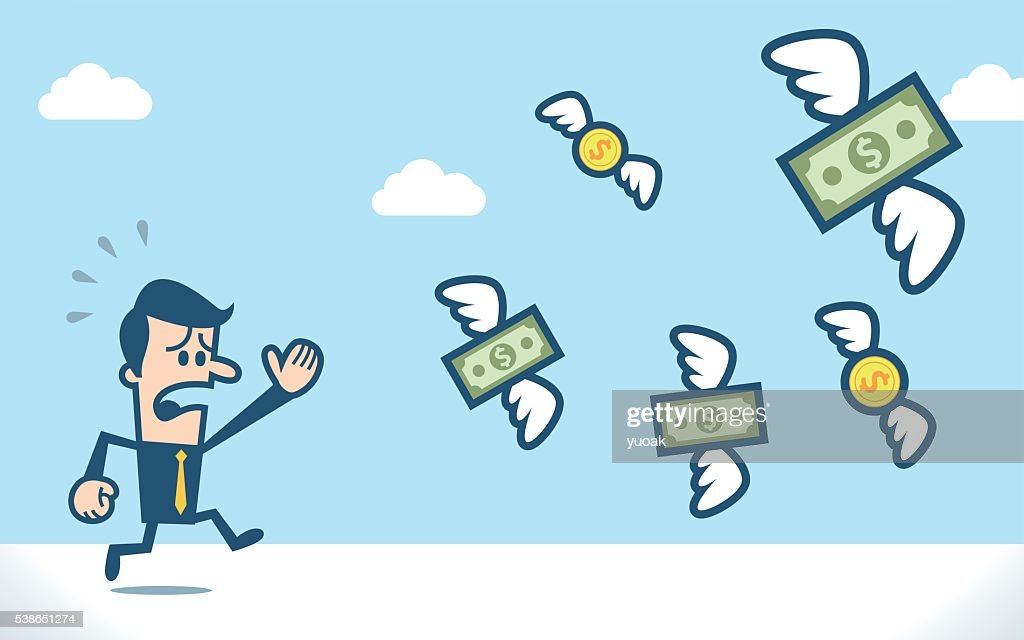 Businessman chasing flying dollar money