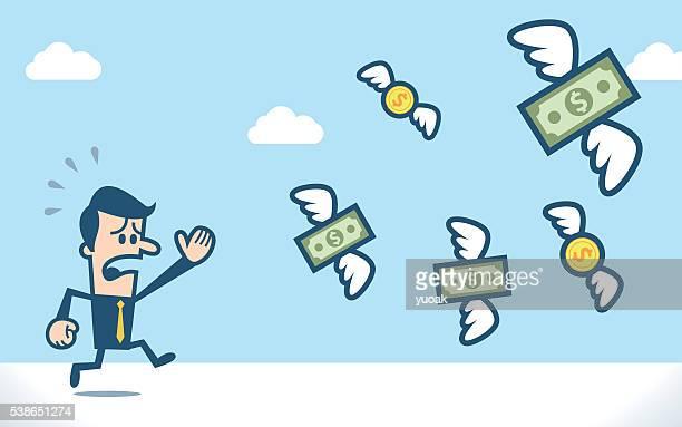 Geschäftsmann verfolgen fliegen Dollar Geld
